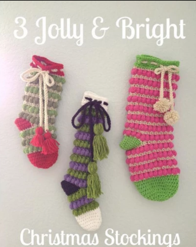 jolly and bright crochet stockings