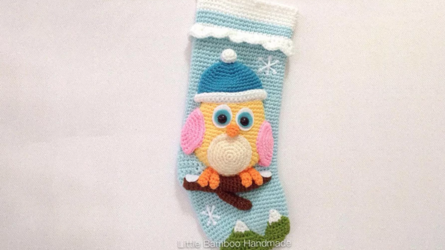 crochet owl stocking