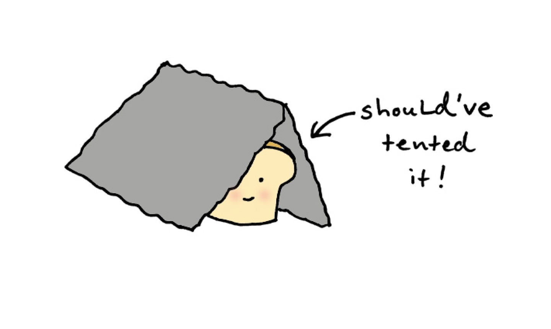 Cartoon bread under a tent