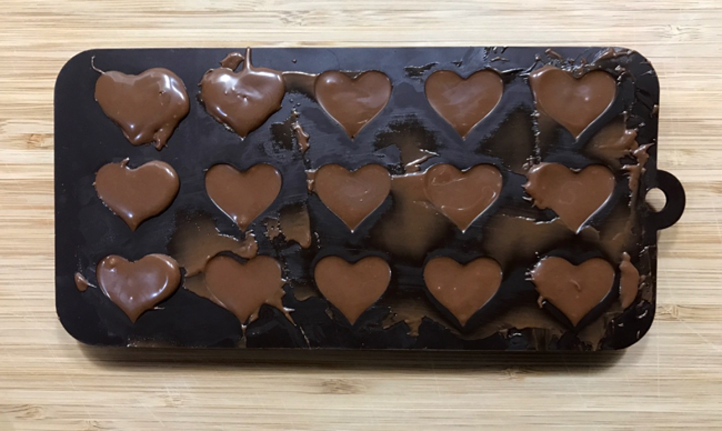 nutella in heart molds
