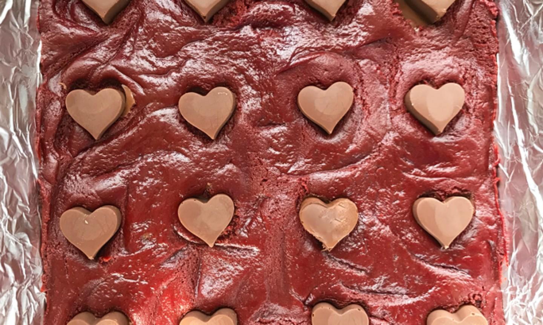 red velvet brownie batter
