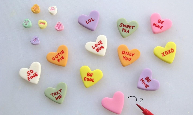 fondant conversation hearts