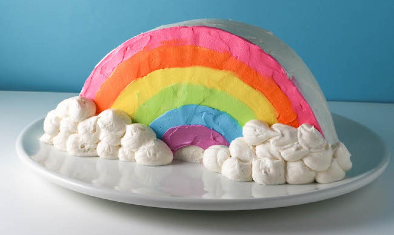 stand up rainbow cake