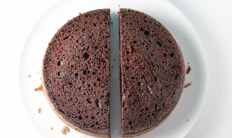 cut chocolate cake