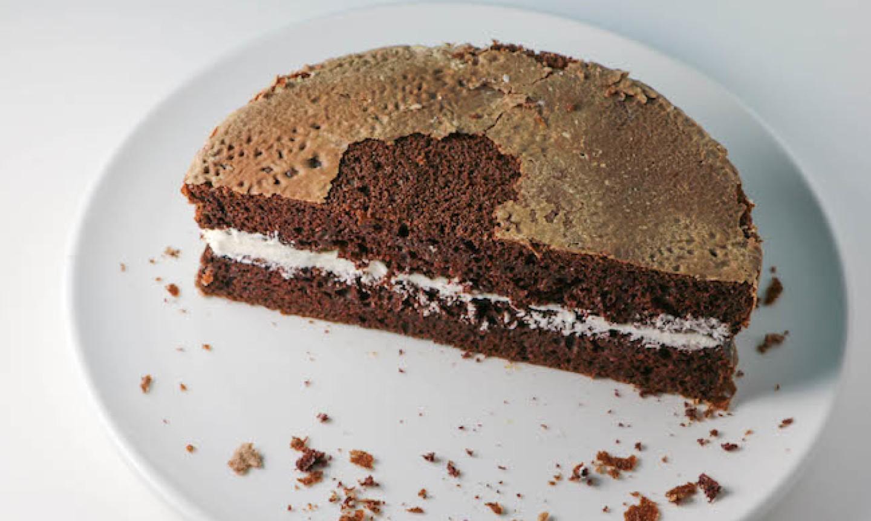 stacked cake halves