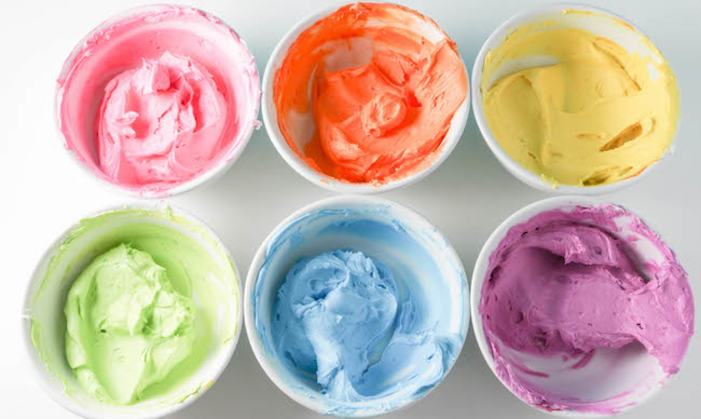 rainbow color buttercreams