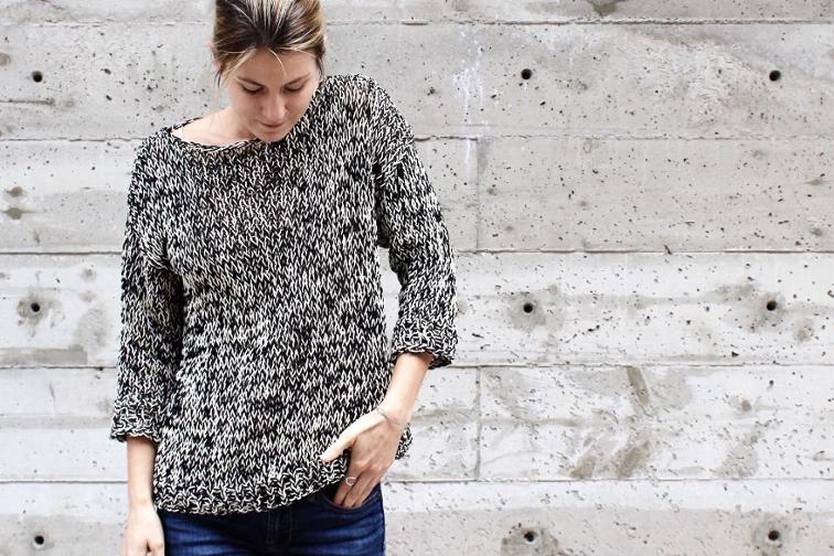 black and white dockside sweater