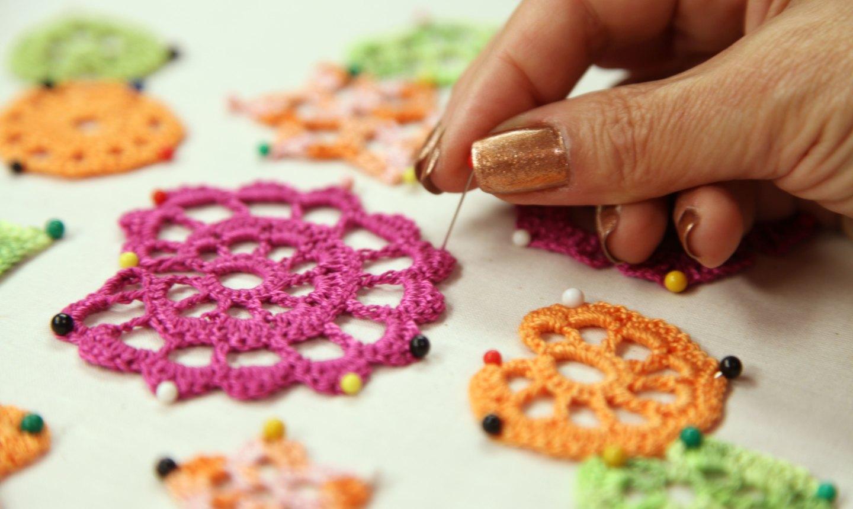 blocking irish crochet motifs