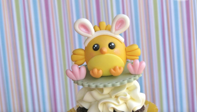 bunny ear chick fondant topper