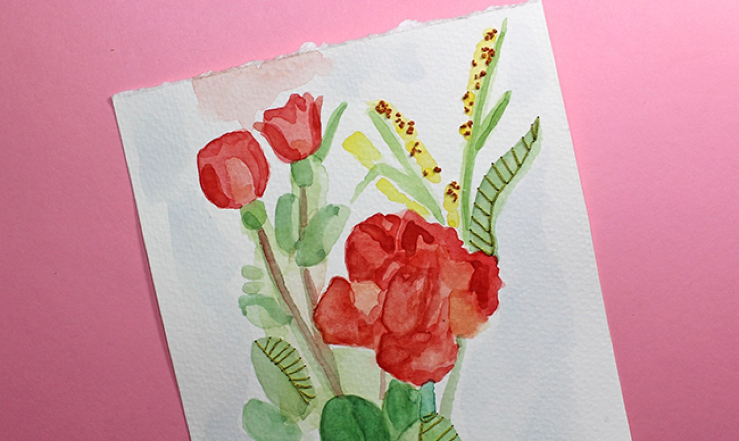 watercolor embroidery painting