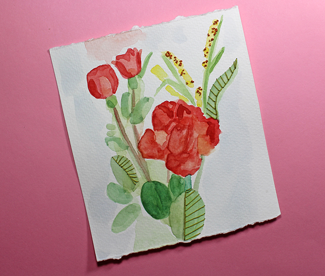 finished watercolor flower embroidery