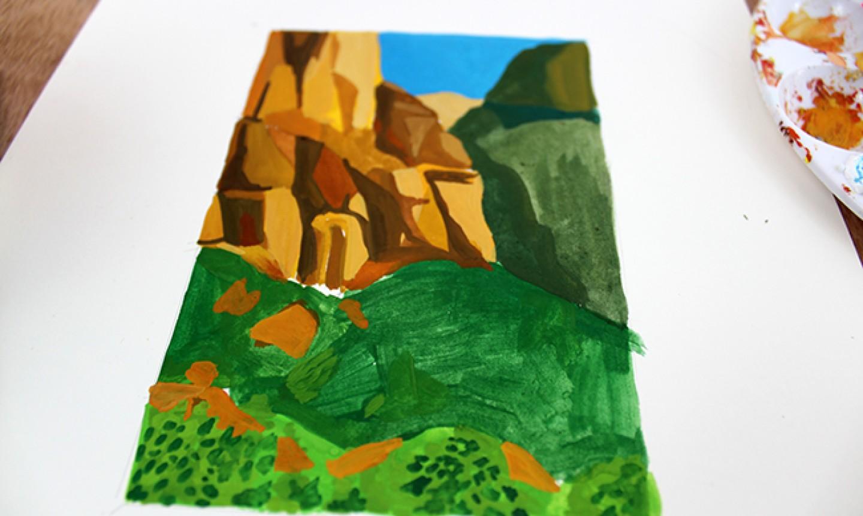 adding details to gouache landscape