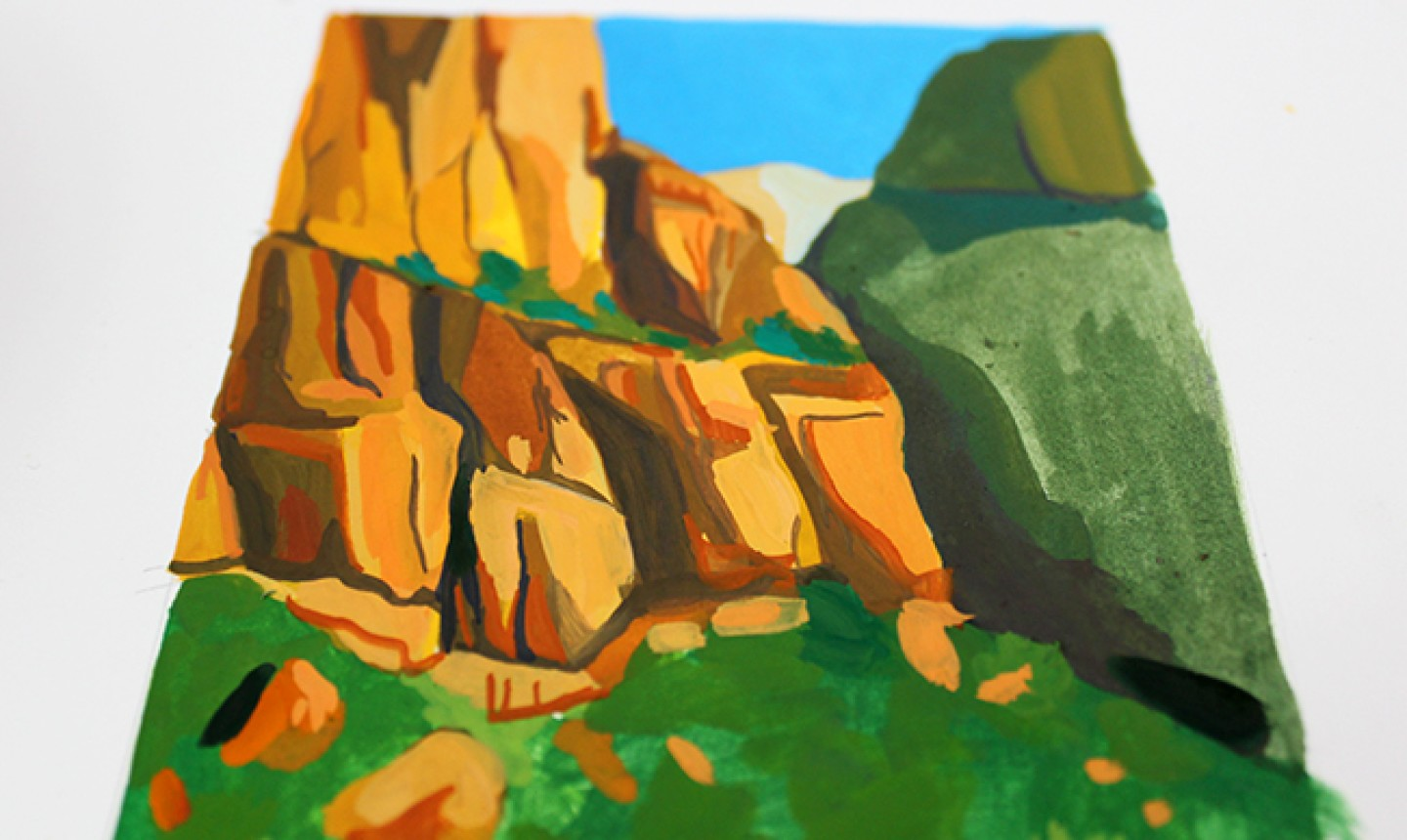 close up of gouache landscape