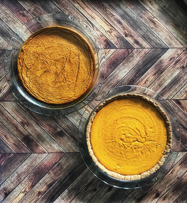 two light pumpkin pies