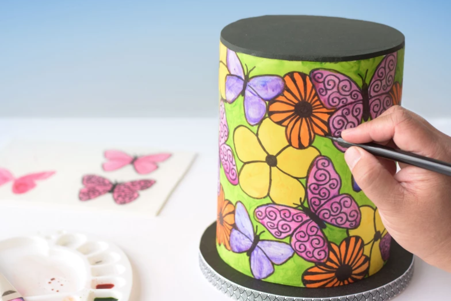 hand painted colorful cake