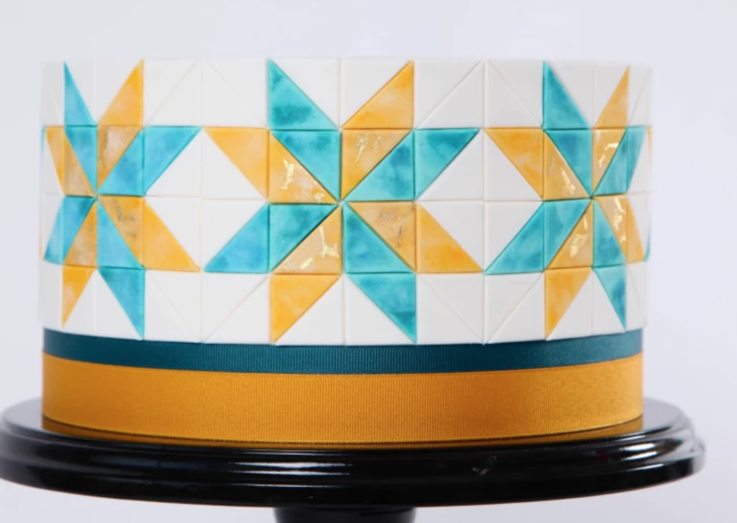 blue and yellow mosaic cake