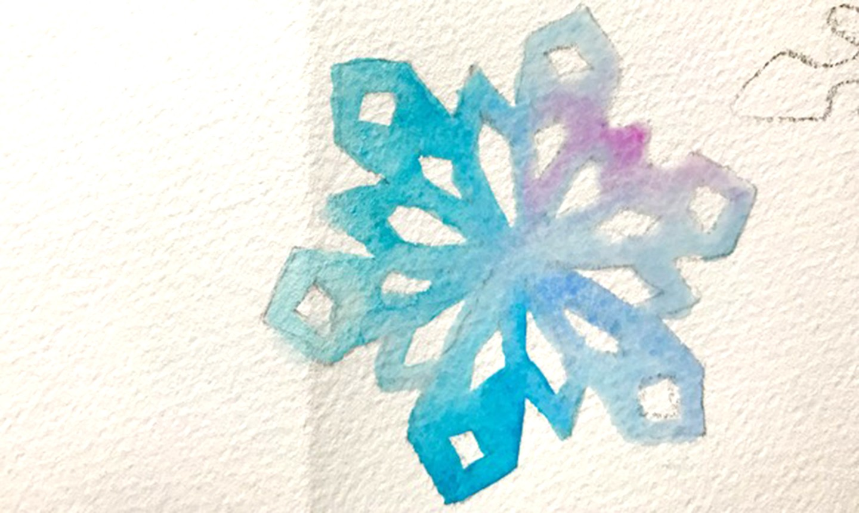 painted watercolor snowflake
