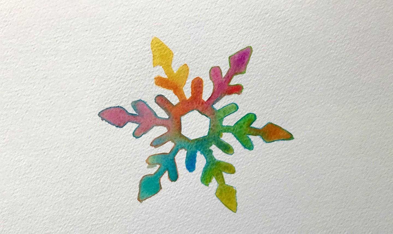 colorful watercolor snowflake