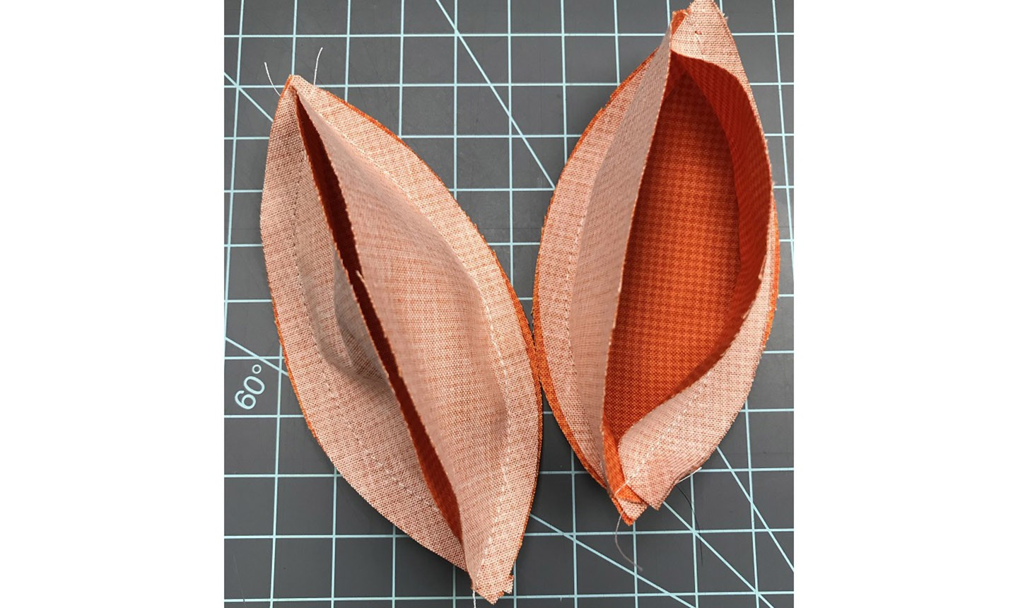 Partly stitched fabric cutouts