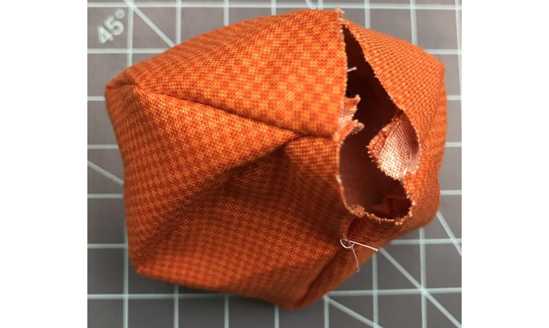 Partially sewn fabric pumpkin