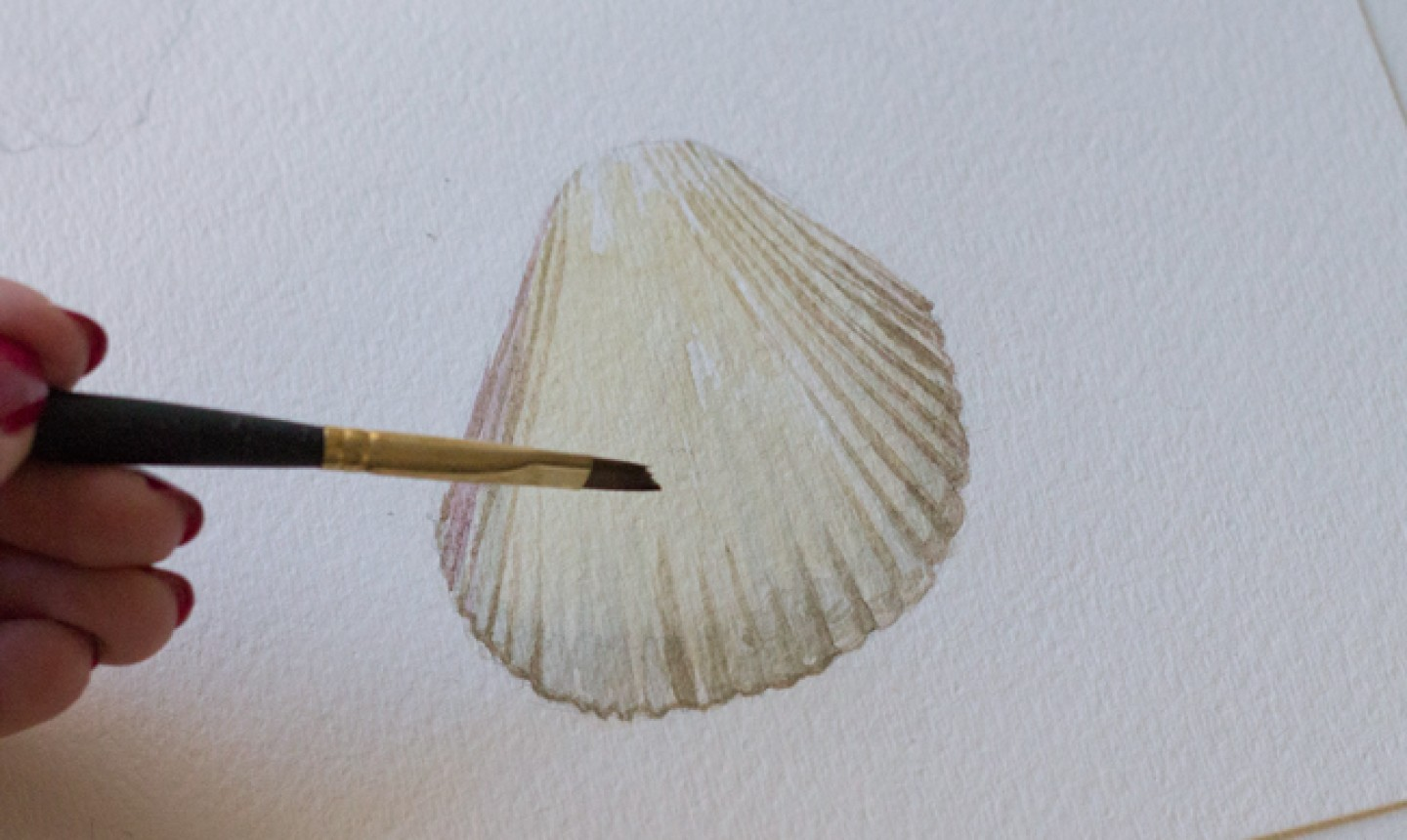painting light tones on seashell