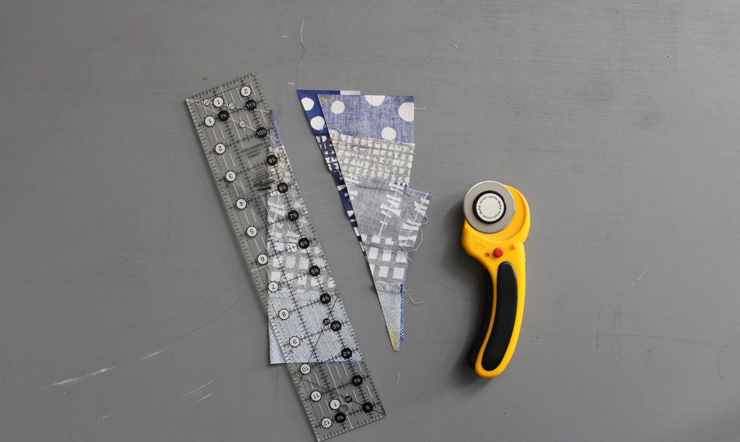 Fabric strips with cutter
