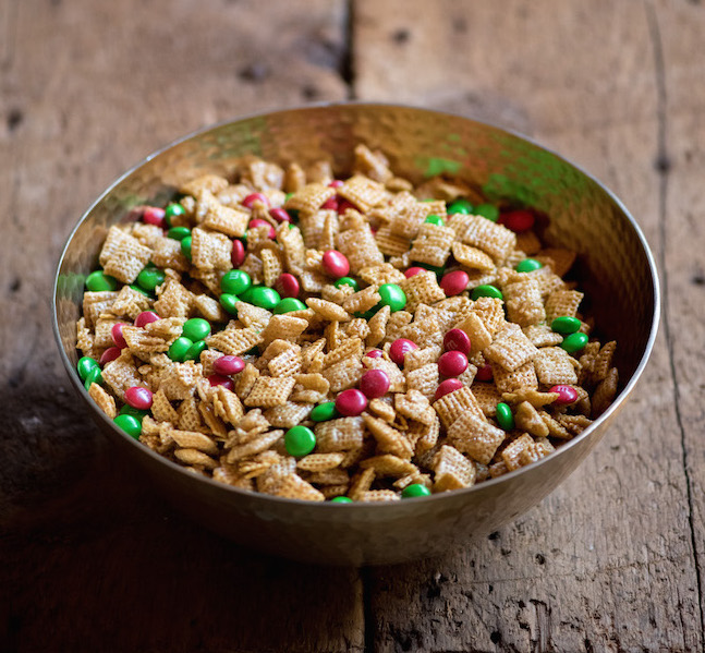 christmas trail mix in a bowl