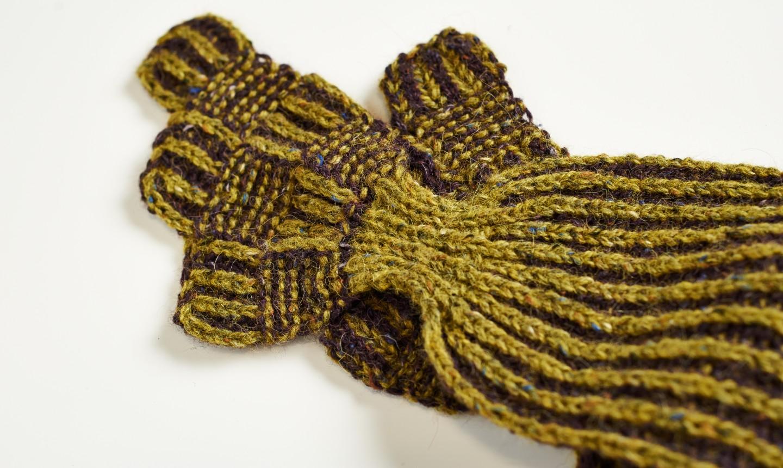 mustard brioche knit scarf