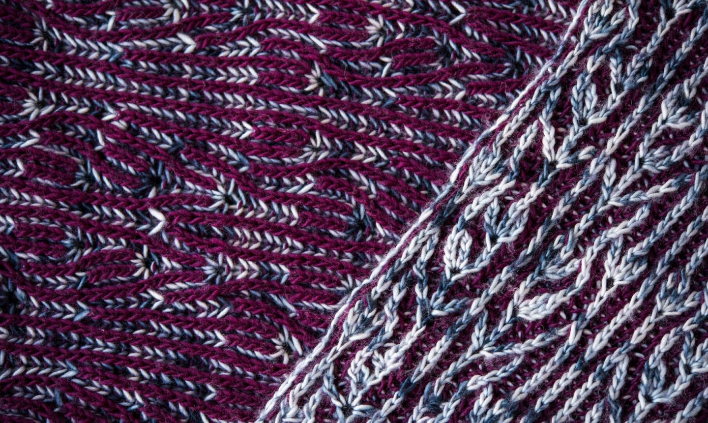 purple brioche knitting details
