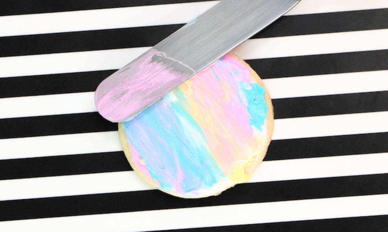 mixing watercolor sugar cookie