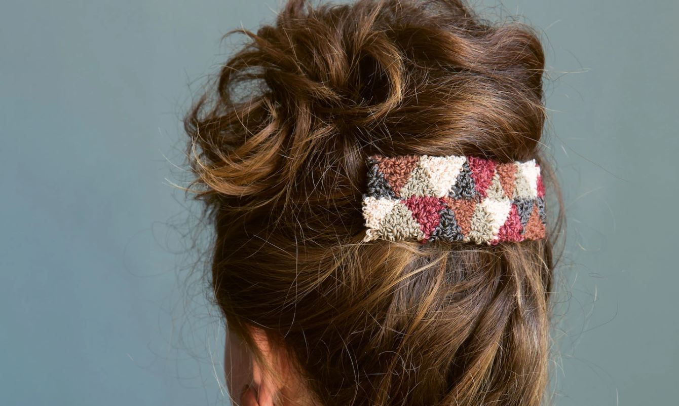 Punch Needle Barrette in an Updo