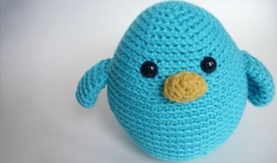 Crocheted blue bird