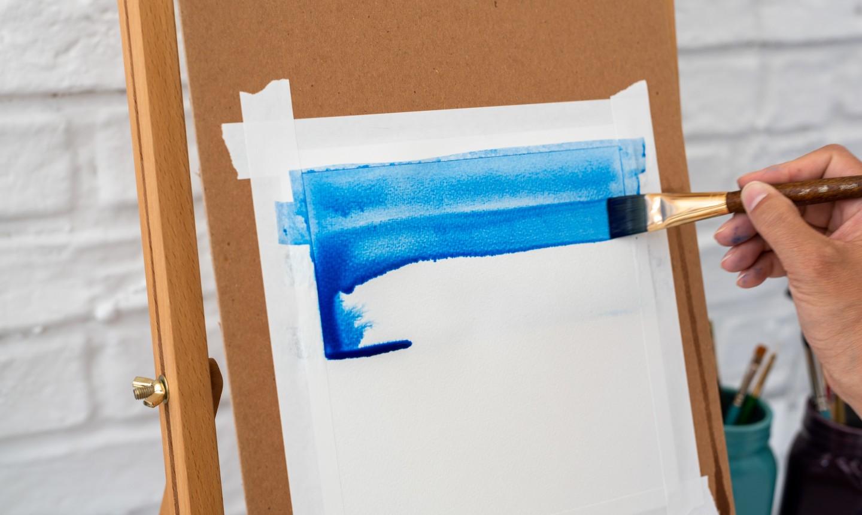 Painting blue brush strokes