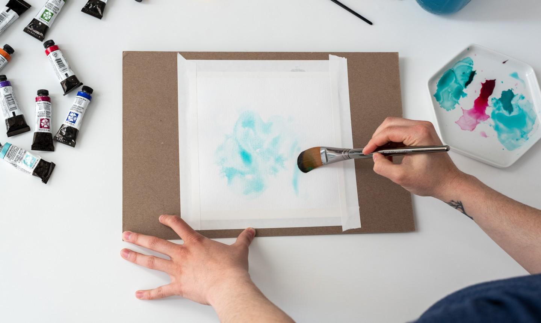 Light blue watercolor spots