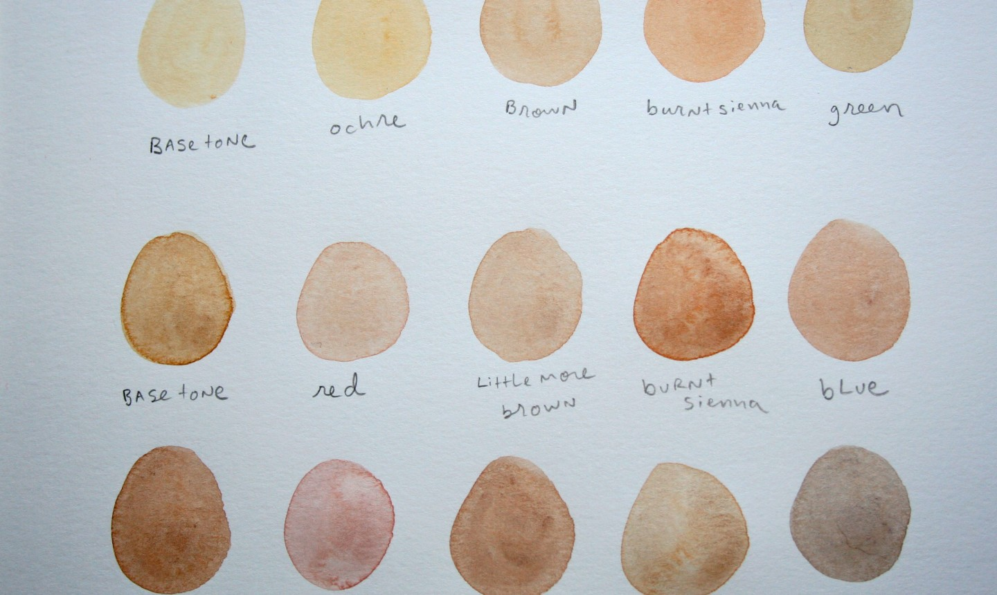 Skin toned water color swatches