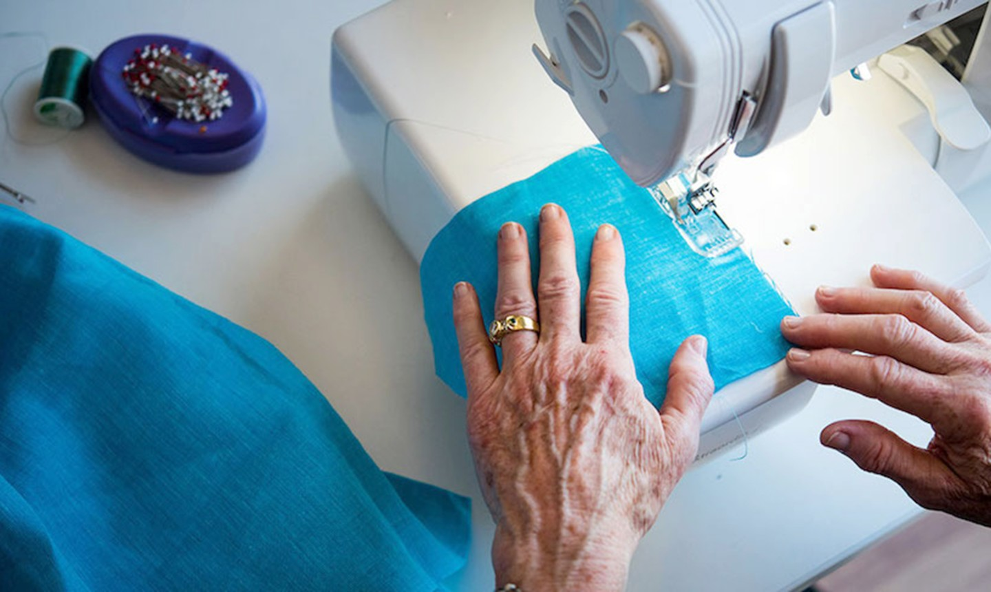 woman using a serger