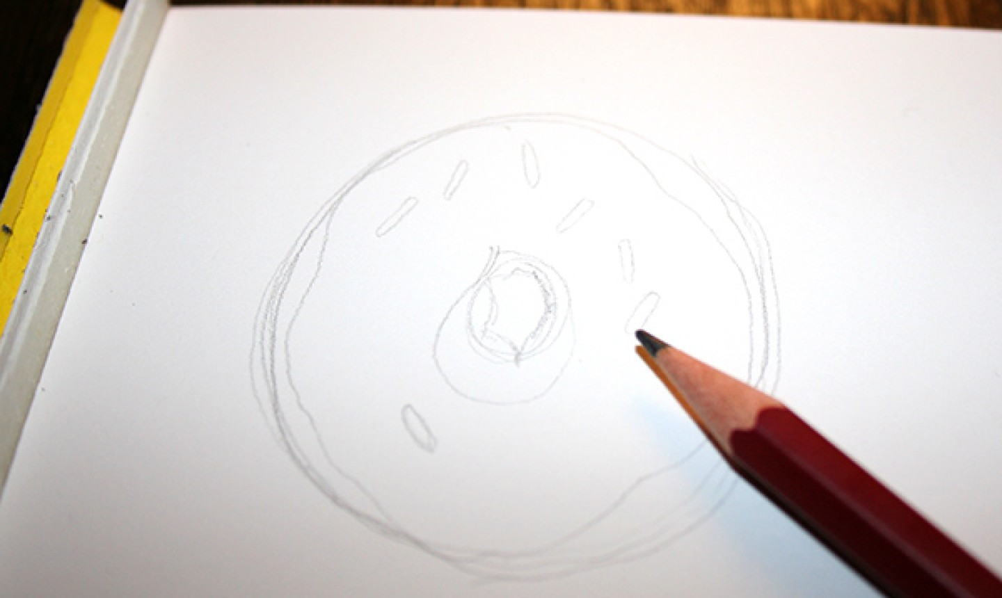 Penciled outline of donut