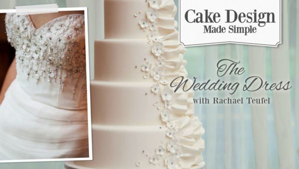 Wedding dress picture and cake