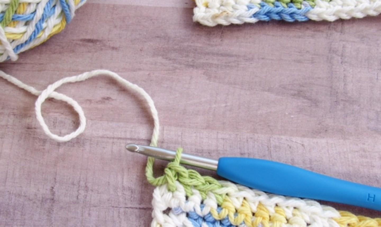 Crochet hook at top of row