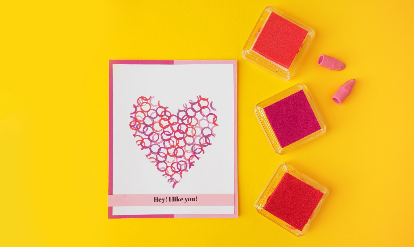 Card with a stamped heart