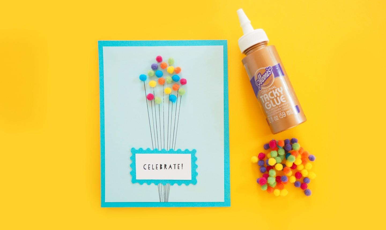 Pom pom balloon card