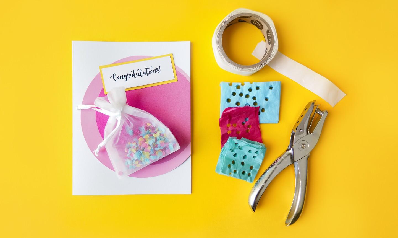Card with confetti