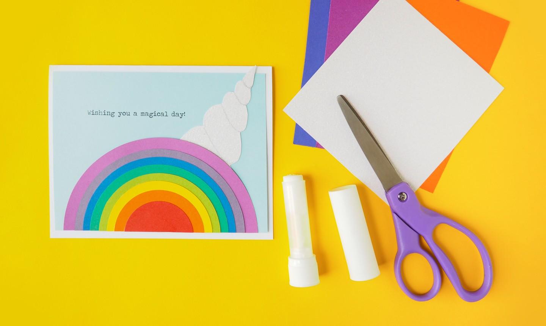 Card with rainbow