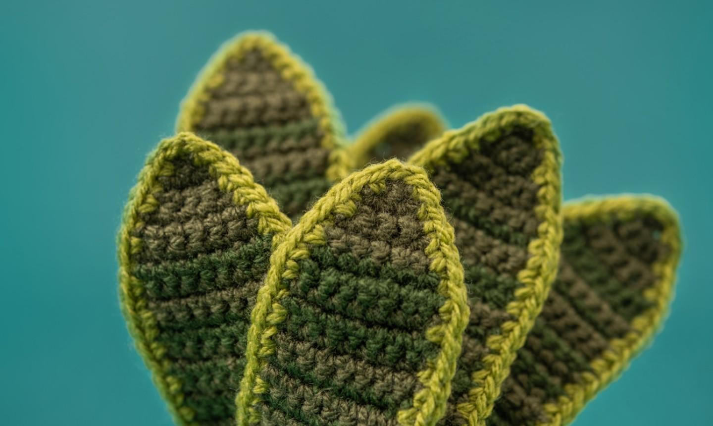 Green crochet leaves