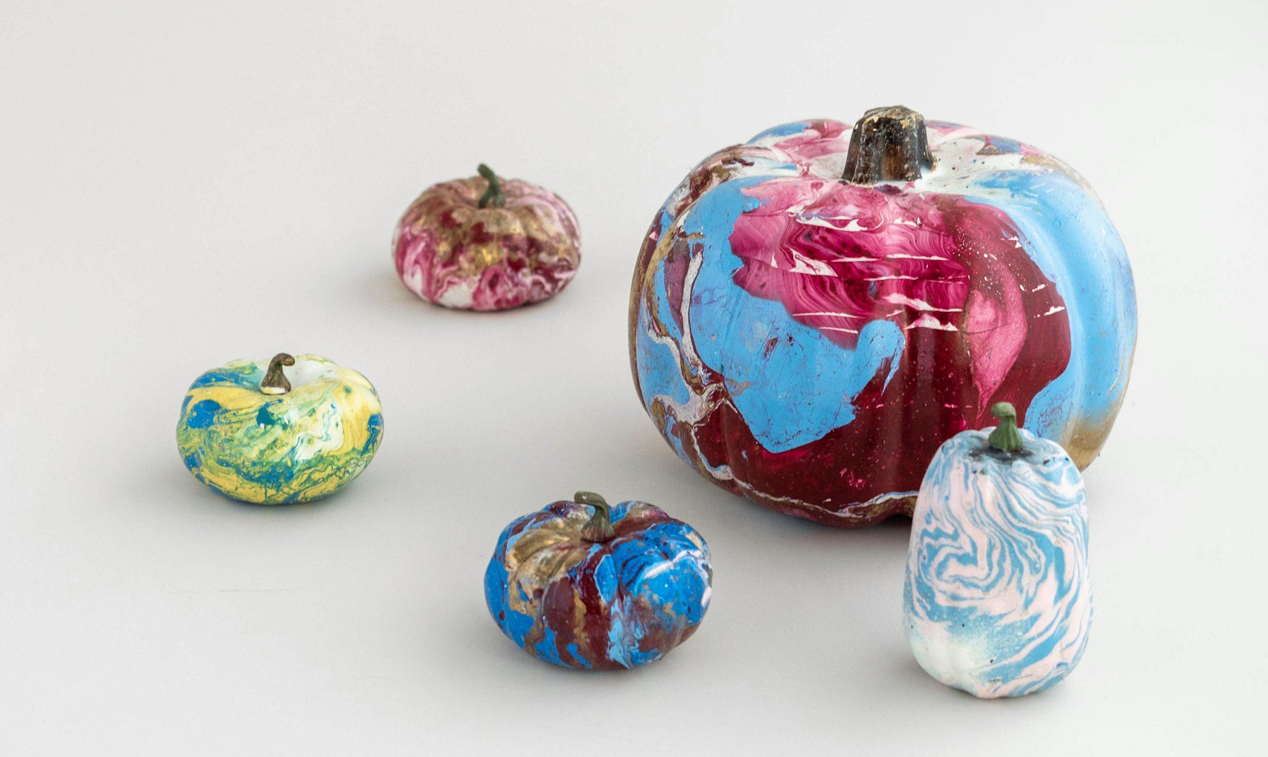 faux-marble painted pumpkins