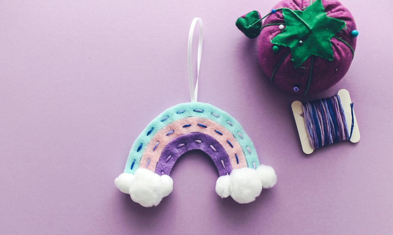 blue, pink and purple rainbow felt ornament