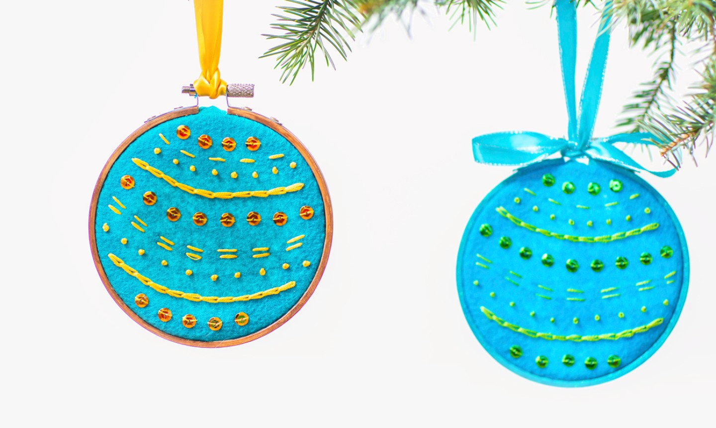 simple embroidered hoop ornaments