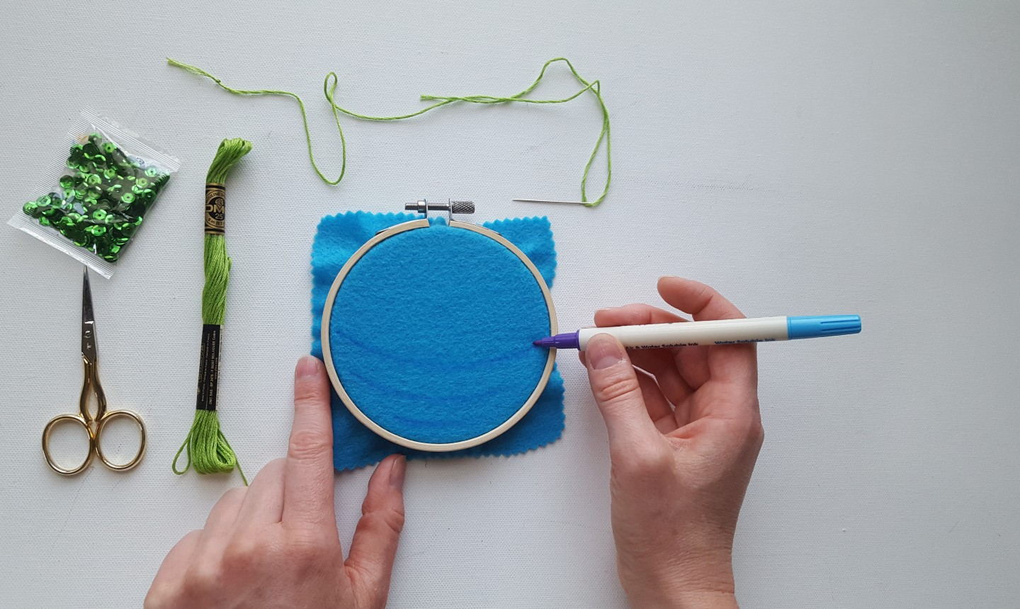 drawing pattern on embroidery hoop ornament