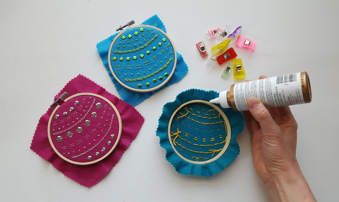 gluing christmas embroidery hoops