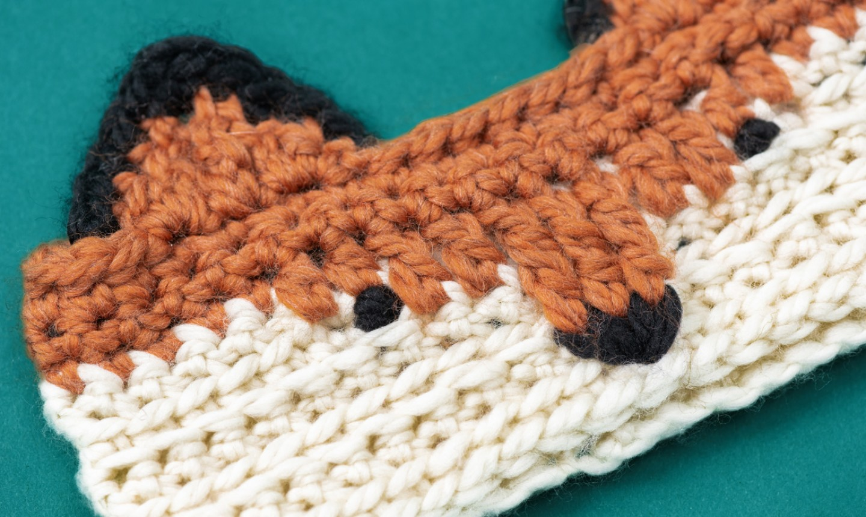 crochet fox headband detail shot